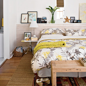 Yellow and Gray Bedroom, Cottage, bedroom, Tracery Interiors