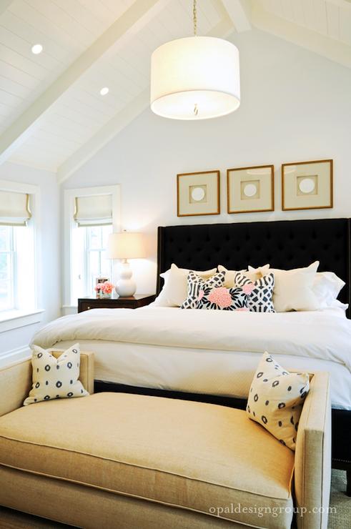Black Tufted Wingback Headboard Contemporary Bedroom