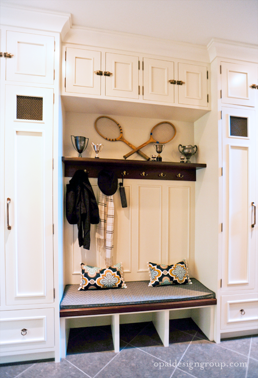 Mudroom design transitional laundry room opal design for Built in lockers