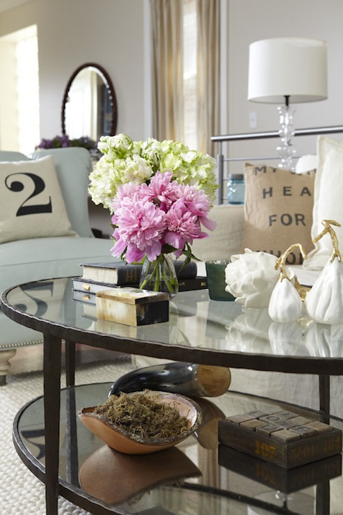 Oval coffee table cottage living room jillian harris for Living room table decor