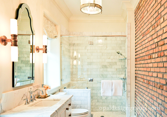 Amazing Bathroom With Exposed Brick Wall, Seamless Glass Shower With Marble  Subway Tiles Shower Surround, White Single Bathroom Vanity With Marble ...