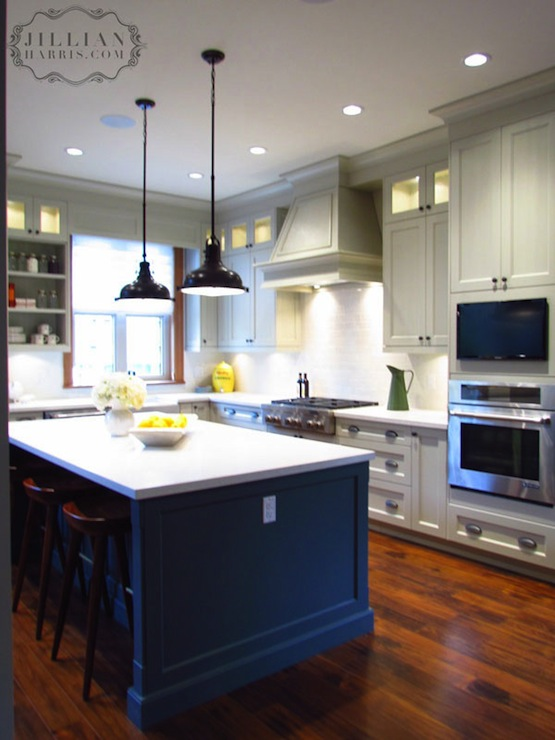Grey Kitchen Cabinets With Blue Island two tone kitchen cabinets - vintage - kitchen - jillian harris