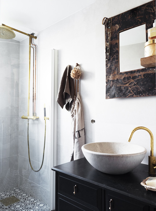 Offset Faucet Eclectic Bathroom Skonahem