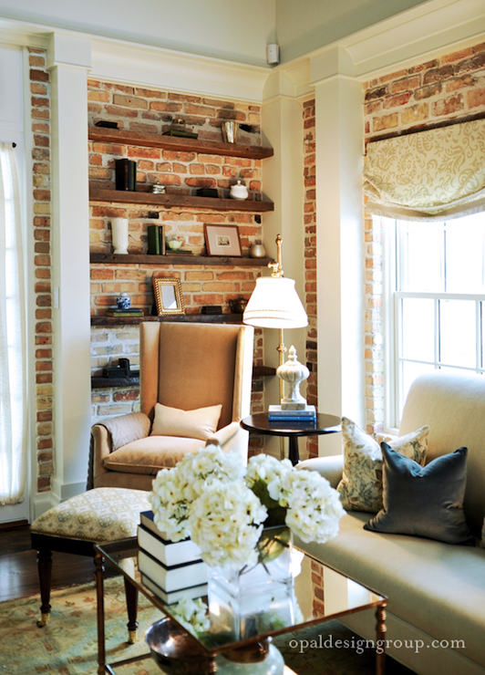 Exposed brick walls transitional living room opal for White exposed brick wall