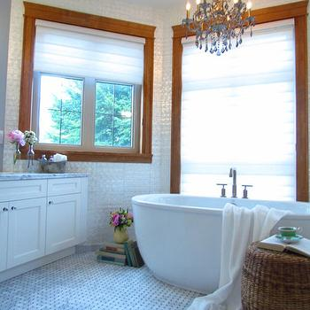 Marble Basketweave Floor, Vintage, bathroom, Jillian Harris