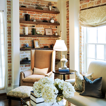 Exposed Brick Walls, Transitional, living room, Opal Design Group