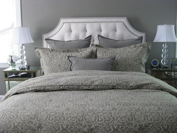 ethan allen upholstered bed transitional bedroom benjamin moore galveston gray. Black Bedroom Furniture Sets. Home Design Ideas
