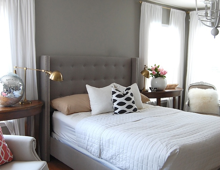 Gray Tufted Wingback Headboard Design Ideas