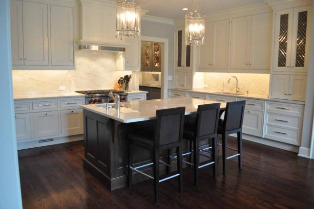 brown kitchen island transitional kitchen fgh architects