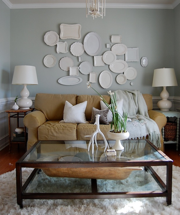 Decorative Wall Plates Transitional Living Room