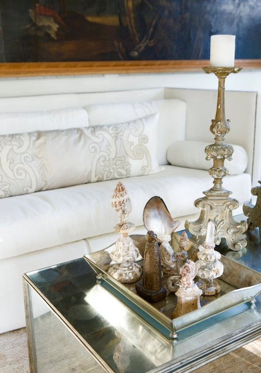 Mirrored Coffee Table Transitional Living Room