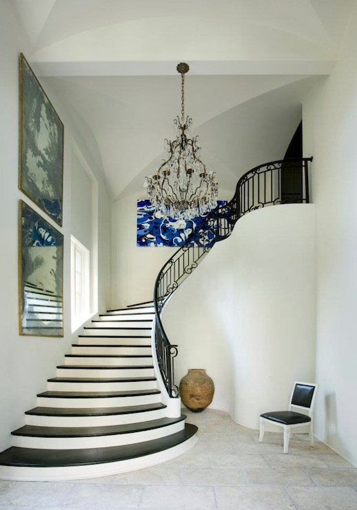 Staircase With Rope Hand Rail Cottage Entrance Foyer