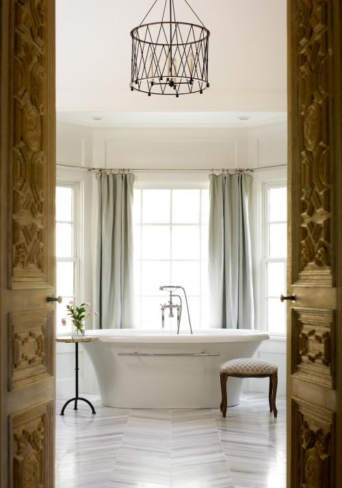 Carved Wood Doors, Transitional, bathroom, Benjamin Moore White Dove, Liz Williams Interiors