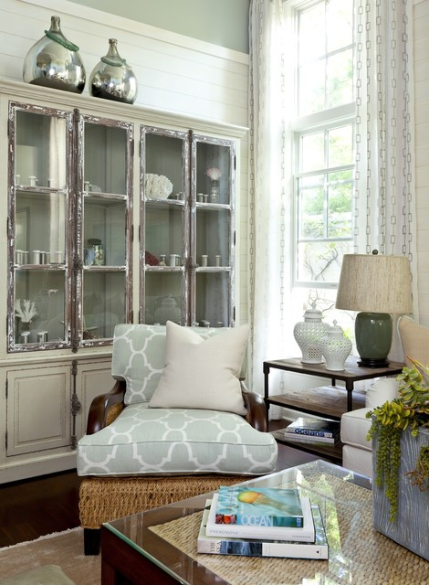 Glass Front Cabinets Cottage Living Room Barclay Butera