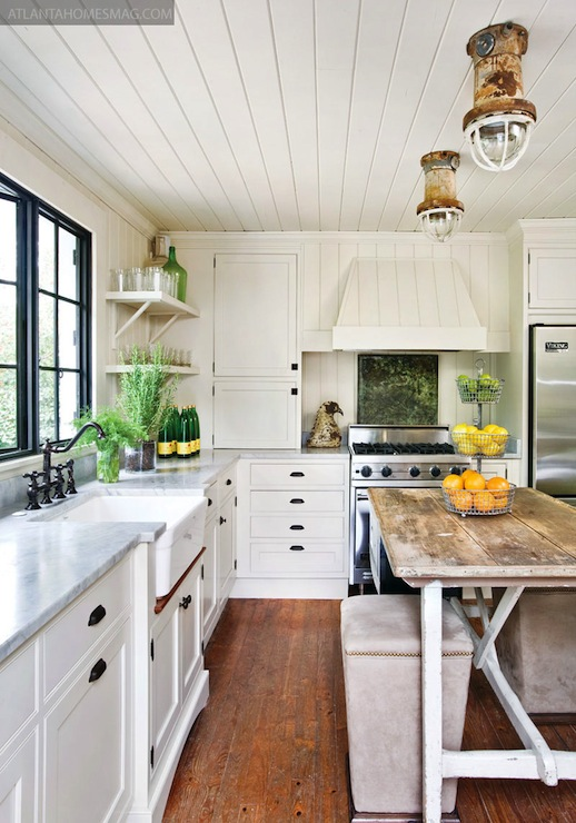 With White Wood Paneled Walls And Ceiling White Kitchen Cabinets