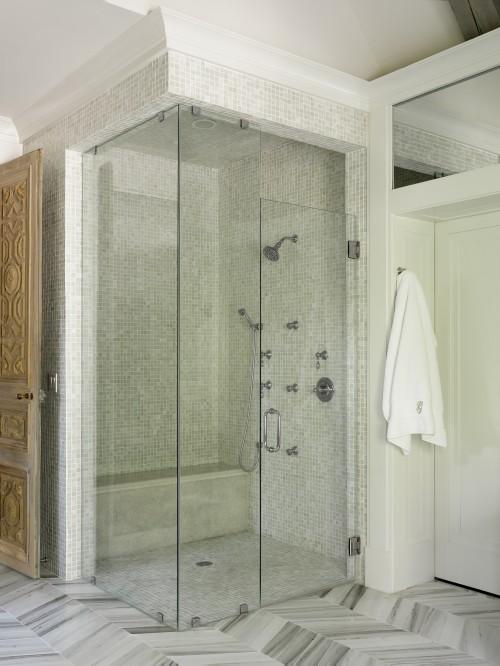 Walk In Shower Design, Transitional, bathroom, Benjamin Moore White Dove, Liz Williams Interiors