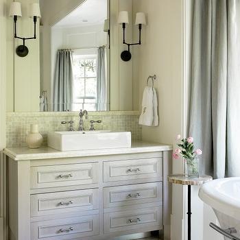 Chevron Tile Floor, Transitional, bathroom, Benjamin Moore White Dove, Liz Williams Interiors