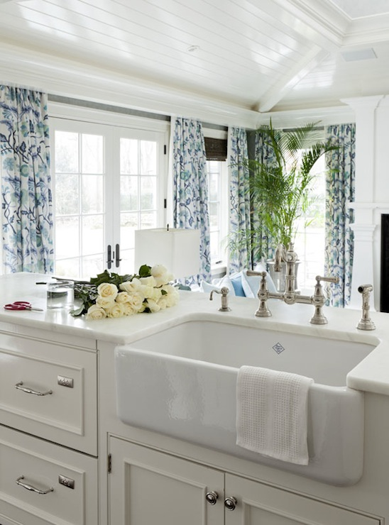 Farmhouse Sink White Cabinets : ... in blue patterned curtains glossy off white cabinets with white marble