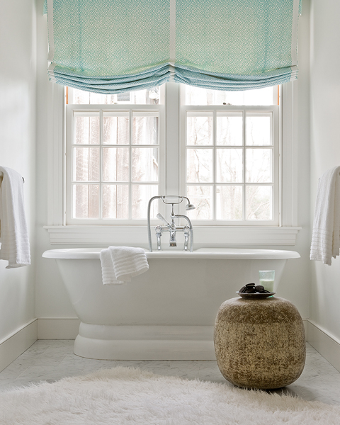 Turquoise Roman Shades Transitional Bathroom Honey