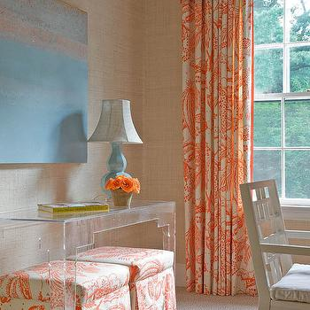 Orange and White Drapes, Transitional, den/library/office, Honey Collins