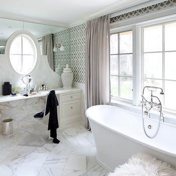 Imperial Trellis Wallpaper, Contemporary, bathroom, Tiffany Eastman Interiors