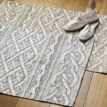 Cable Knit Printed Floor Mat, Frost Gray, west elm