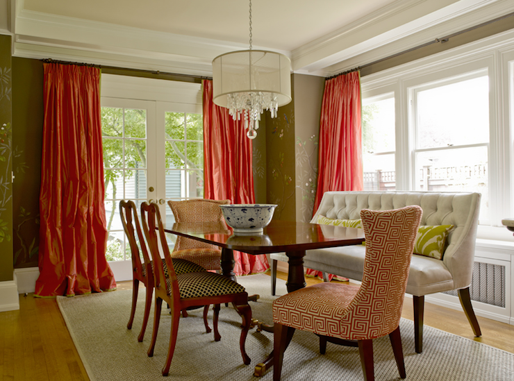 Brown And Pink Dining Room With Floor To Ceiling Silk Taffeta Tomato Orange Curtains Covering French Doors Windows Chocolate Walls Ivory Tufted