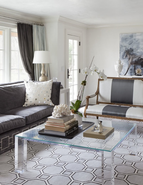 Charcoal Gray Sofas with Black Wood Coffee Table Transitional