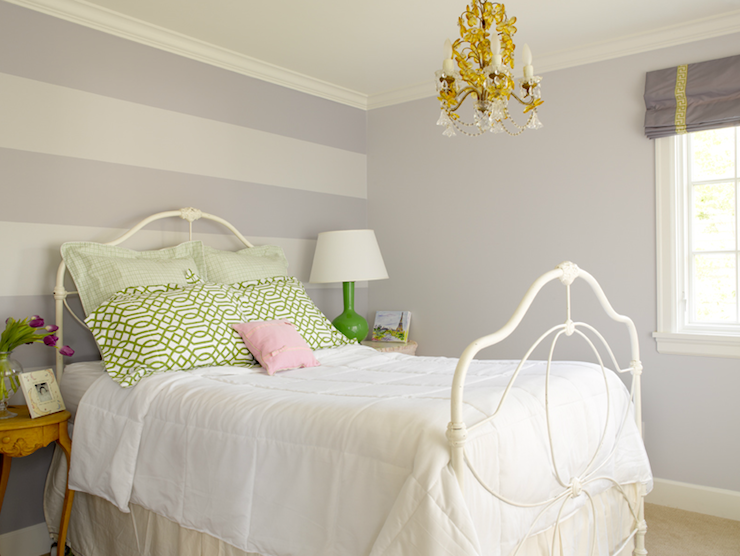 Striped accent wall transitional girl 39 s room for Bedroom stripe paint ideas