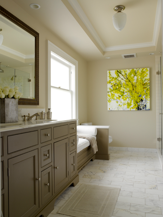 Gray and yellow bathroom contemporary bathroom for Bathroom ideas yellow tile