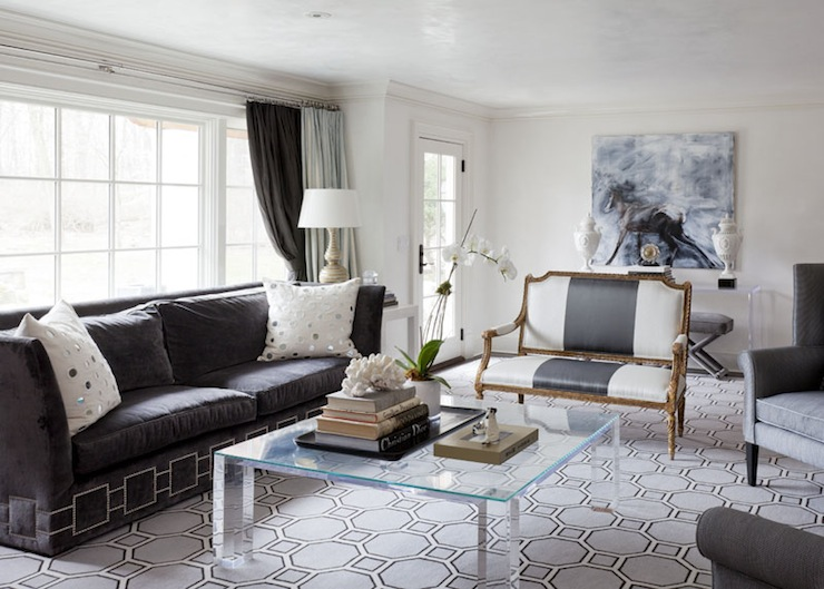 dark gray velvet sofa contemporary living room tiffany eastman