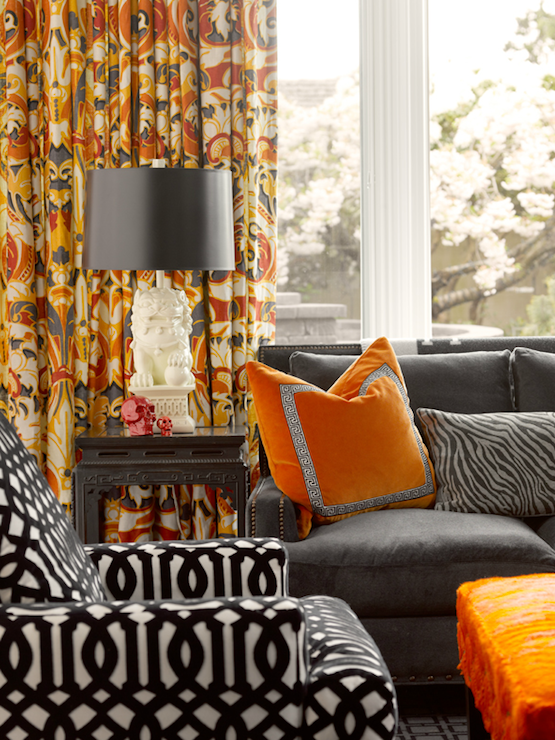 Orange and gray curtains contemporary living room for Grey orange living room