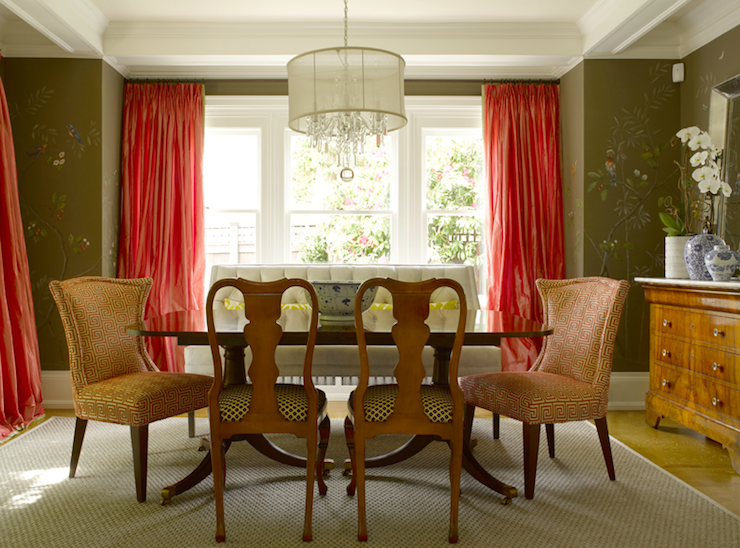 View Full Size Brown And Pink Dining Room With Chocolate Walls Tomato Orange Silk Taffeta Curtains