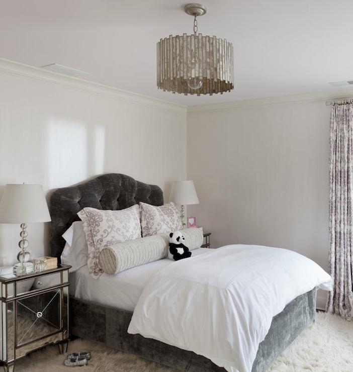 Dark gray velvet tufted headboard contemporary girl 39 s for Velvet bedroom designs