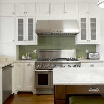 Green Kitchen Backsplash Transitional Kitchen Andre