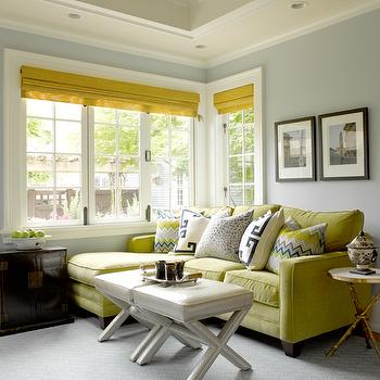 Green Velvet Sofa, Contemporary, living room, Graciela Rutkowski Interiors