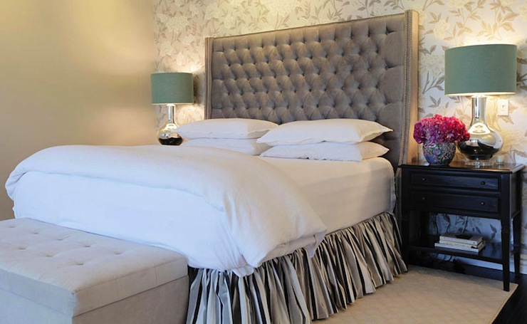 gray velvet tufted headboard contemporary bedroom. Black Bedroom Furniture Sets. Home Design Ideas