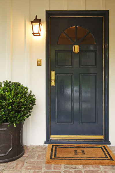 Navy blue front door traditional entrance foyer jenn for Navy blue front door