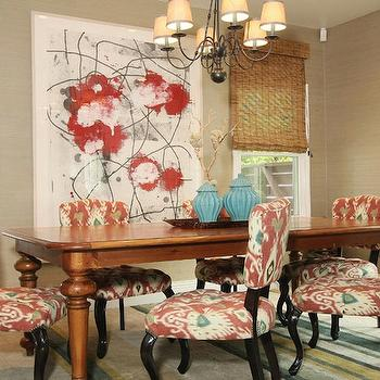 Bamboo Dining Room Roman Shades Design Ideas