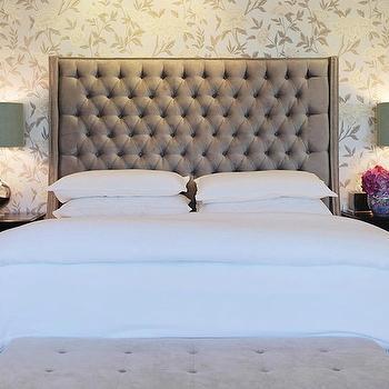 Velvet Tufted Headboard, Contemporary, bedroom, Jenn Feldman Designs