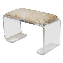Vintage Lucite Waterfall Bench in Gold Hide, Pieces