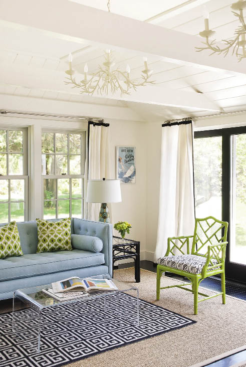 ... Designs 5 Light Coral Chandeliers, Green Bamboo Chair, Jonathan Adler  Blue Greek Key Rug, CB2 Peekaboo Clear Coffee Table, Jonathan Adler Lampert  Sofa, ...