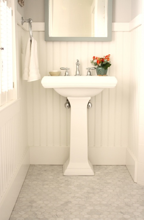 Chair Rail In Bathroom Part - 33: White And Gray Bathroom With White Chair Rail And Beadboard Painted  Benjamin Moore White Dove Paired With Gray Walls, Gray Mirror Over White  Pedestal Sink ...