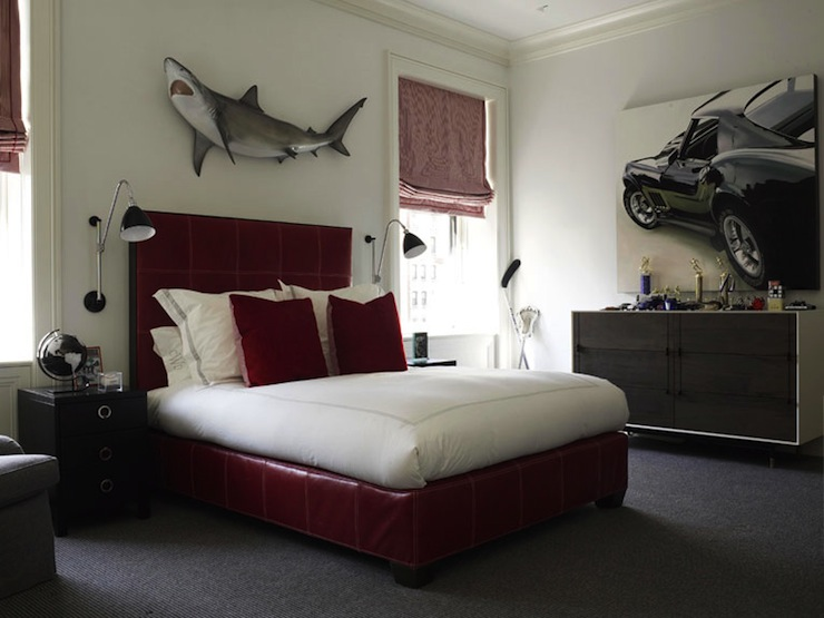 Awesome Fun Boyu0027s Bedroom With Red Vinyl Bed, Red Velvet Pillows, Shark Wall Decor,  Modern Two Tone Dresser, Red Roman Shades And Black Nightstands.