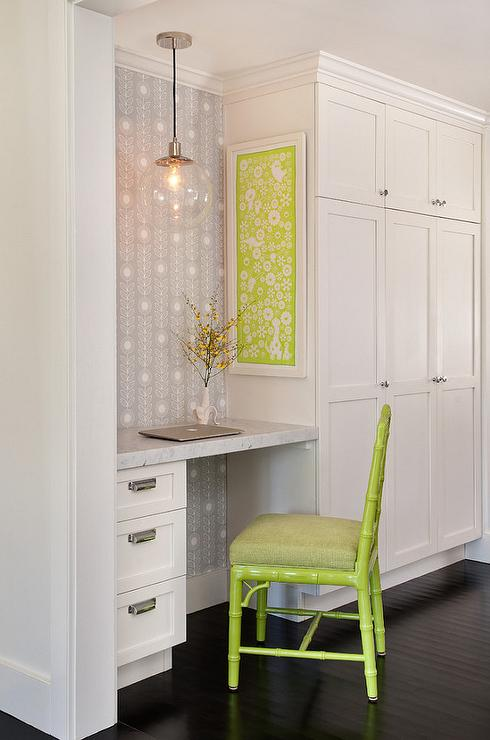 Built in desk transitional kitchen summer thornton for Kitchen office nook