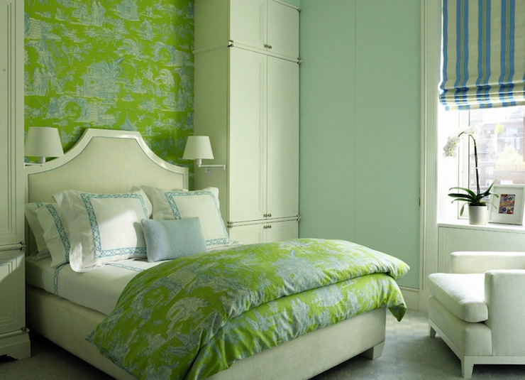 Green and blue bedrooms contemporary girl 39 s room for Green bedroom wallpaper