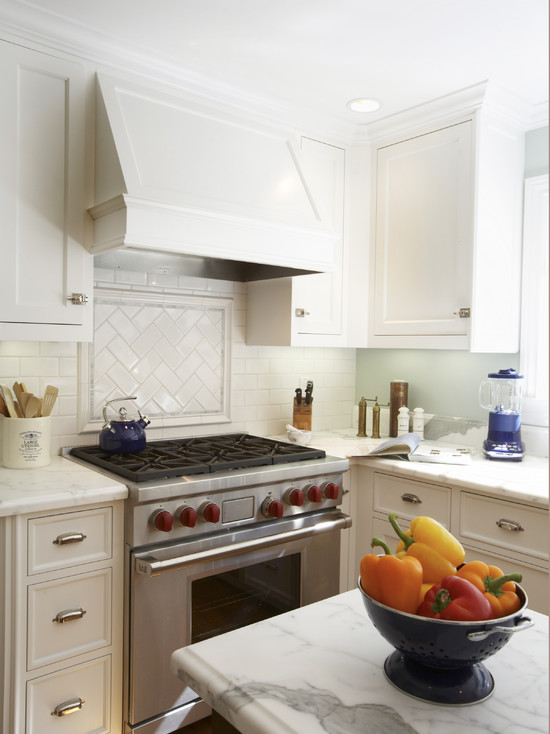 Herringbone Cooktop Backsplash Traditional Kitchen