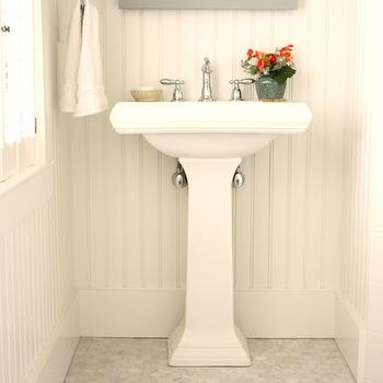 Beadboard Bathroom, Cottage, bathroom, Benjamin Moore Horizon, For the Love of a House