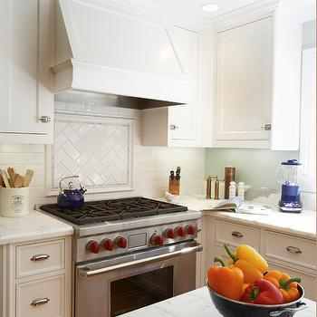 Herringbone Cooktop Backsplash French Kitchen