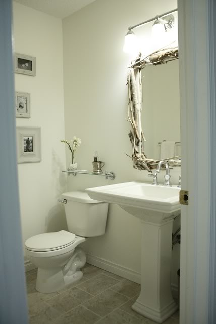 Rectangular Driftwood Mirror Cottage Bathroom In The